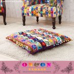 座布団  クッション おしゃれ 正方形 大きい 刺繍 リーフ 北欧 カフェ アジアン ON&ON DLU060FR