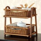 アジアン家具 雑貨 バリ 小物入れ 収納 ラック 調味料ラック 籐 ラタン 木製 F530HR