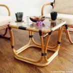 テーブル ガラス 机 サイドテーブル ローテーブル 籐 ラタン 木製 和風 アジアン家具 T200CB