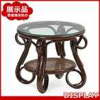 ショッピングoutlet アウトレット サイドテーブル ナイトテーブル 机 ガラス 籐 ラタン 木製 おしゃれ アジアン カフェ T210CB-B