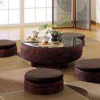 アジアン家具 エスニック ローテーブル 座卓 机 ガラス ウォーターヒヤシンス 円形 和風 T2529