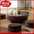 アウトレット アジアン家具 センターテーブル ローテーブル 座卓 机 ガラス ウォーターヒヤシンス 円形 バリ 和風 モダン T2529-B