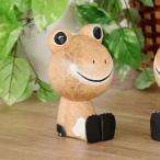 アジアン雑貨 バリ カエル 置物 オブジェ インテリア おしゃれ 木製 アクビィ Z070501N