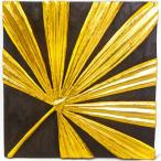 アジアン雑貨バリ木製レリーフオブジェ壁掛けファンパームゴールドz090203a
