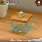 アジアン雑貨バリガラスケースコットンボックスクリアガラスフタ付きSz140202b
