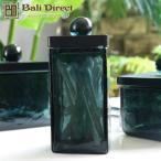 アジアン雑貨キャニスターガラス製ブラック黒TサイズZ220303F