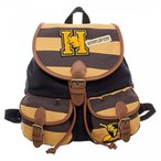 Yahoo!Lange Staarten玩具 Harry Potter コスプレ Harry Potter Hufflepuff Varsity Stripes Knapsack with Patches - Slouch Backpack 正規輸入品
