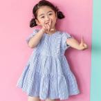 ショッピング子供服 韓国子供服 女の子 通販 ワンピース ストライプ 半袖 おしゃれ キッズ 可愛い 子ども服 お出かけ 30代 40代 ママ 女性 レディース