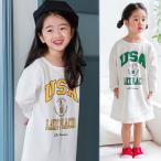 ショッピング子供服 韓国子供服 女の子 通販 ワンピース 長袖 ロゴ プリント おしゃれ キッズ 可愛い 子ども服 お出かけ 30代 40代 ママ 女性 レディース