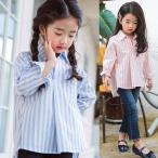 ショッピング子供服 韓国子供服 女の子 通販 ブラウス ストライプ 長袖 長袖 おしゃれ キッズ 可愛い 子ども服 お出かけ 30代 40代 ママ 女性 レディース