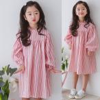 ショッピング子供服 韓国子供服 女の子 通販 ワンピース レディース 膝丈 長袖 ストライプ バルーン袖 おしゃれ キッズ 可愛い 子ども服 お出かけ