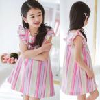 韓国子供服 女の子 通販 ワンピース レディース ノースリーブ ストライプ  韓国 おしゃれ キッズ 可愛い 子ども服 お出かけ