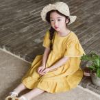 ショッピング子供服 子供服 女の子 通販 ワンピース レディース 半袖 無地 ロング丈 Aライン 韓国 おしゃれ キッズ 可愛い 子ども服 お出かけ