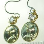 レディースピアス フックピアス 硬貨 金貨 コイン キュービックジルコニア キラキラ サージカルステンレスフック