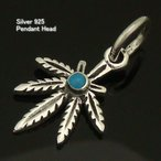 シルバー925 ターコイズ 青 マリファナ インディアン silver925 シルバーアクセサリー ペンダントヘッド ペンダントトップ メンズ 夏アクセ