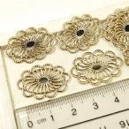 楕円形の花丸模様の透かしパーツ 10個1セット アクセサリーパーツ