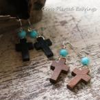 レディースピアスウッド製の小さなクロス十字架サガリピアス