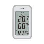タニタ 温湿度計 TT-559 GY 温度 湿度 デジタル 壁掛け 時計付き 卓上 マグネット グレー