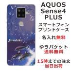 AQUOS Sense4 PLUS ケース SH-M16 アクオスセンス4プラス カバー らふら ドルフィン ジャンプ