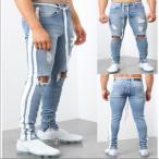 就活 安い パンツ 体型カバー デニムパンツ 上質 メンズファッション ボトムス ダメージ デニム スキニーパンツ ジーンズ ラインパンツ ストレッチ ストリート
