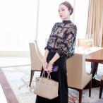 [一部即納] ハイネック セットアップ ドレス アジアンテイスト ワイドパンツ 七分袖 大きいサイズ 2L 3L 秋 韓国 結婚式 パーティー パンツドレス 袖あり