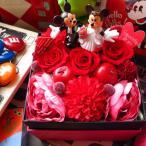 ディズニー フラワーギフト 結婚祝い 箱開けてスマイル  ボックス入りプリザーブドフラワー ウェディングミッキー&ミニー B