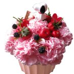 母の日 プレゼント スヌーピー入り 花 スヌーピーマスコット1個入り ピンク カーネーション フラワーケーキ フラワーアレンジメント