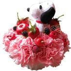 母の日 プレゼント スヌーピー入り 花 ぬいぐるみ ピンク カーネーション フラワーケーキ フラワーアレンジメント