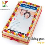 インスタ風写真ケーキ L 特大 バースデーケーキ 生クリームのショートケーキ