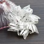 フィリグリー リボン フラワー ブローチ 美しい手仕事の繊細な銀線細工 ジョグジャカルタ メール便不可