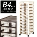 【アプロス】B4サイズ深型引出し10段収納ケース/レターケース/書類ケース/オフィス収納/トーン収納/スクリーン収納