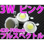3W フルスペクトル 濃ピンク色 ハイパワーLED素子 水草・植物・野菜栽培・光合成用に LED 発光ダイオード