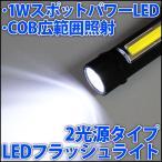LEDフラッシュライト LEDランタン 懐中電灯 1WハイパワーLED(スポット)とCOB高効率LED(広範囲)の2光源方式 単4電池3本使用 LED 発光ダイオード