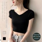 Tシャツ 半袖 レディース スリムTシャツ 白 ヘソ出し 半袖Tシャツ 黒 へそ出し カットソー Vネック 女性 タイトTシャツ 無地 夏 セクシー 送料無料