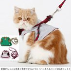 ハーネス リード セット 猫用品 キャット ネコちゃん チェック柄 リボン付き マジックテープ付き 胴輪 ベスト型ウェアハーネス