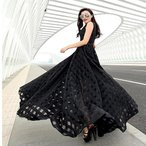 ショッピングノースリーブ ノースリーブ ワンピース (春 夏)マキシ ロングドレス 黒 ブラック 結婚式 二次会 パーティー ノースリーブ 大きいサイズ XL 2XL