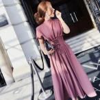 ショッピング半袖 半袖 (ミモレ 膝丈)韓国 大人女子 ハイネック ミモレ丈のワンピース ミディドレス パフ半袖
