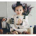 yuzuyu_shop 子供服 男女兼用 男の子 女の子 ニット 三角 トライアングル 冬服 白 黒 (110cm)