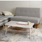 センターテーブル棚付き フォールディングテーブル90幅 折りたたみテーブル ちゃぶ台 座卓折れ脚テーブル 白 安い