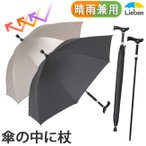 傘 ステッキ傘 メンズ レディース 杖の傘 60cm×8本骨 LIEBEN-0188