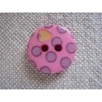 手芸用ボタン Bouton 水玉とハートのボタン ピンク 1個 〈アントレ・デ・フルニス−ル〉