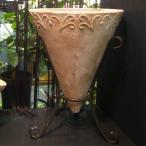 植木鉢 アンティーク調 テラコッタ鉢 コーン アンティコ アイアン付 外径46cm