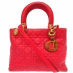 ディオール レディディオール カナージュ ショルダー2wayハンド バッグ 赤 鞄 0386【中古】Christian Dior