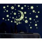 ゆうメール送料無料 ウォールステッカー:夜に光る月と星 簡単模様替え 蓄光タイプ LP-Y0015