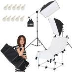 Yahoo!撮影機材・照明のライトグラフィカ撮影機材 「すぐ撮る」ミディアムテーブル付セット 撮影用LED電球照明2灯セット