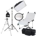 Yahoo!撮影機材・照明のライトグラフィカ撮影機材 「すぐ撮る」ミディアムフルテーブル付50×70cm蛍光灯照明1灯セット レフ板と三脚付