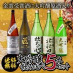 大吟醸 日本酒 セット 飲み比べ 詰め合わせ 5本 送料無料 金賞受賞酒入り 1.8L 1800ml 清酒  長S