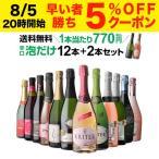 ワインセット スパークリング ワイン 泡 750ml 12本+2本 送料無料 飲み比べ 詰め合わせ 辛口 泡だけ 特選 シャンパン製法&金賞入り 52弾の画像