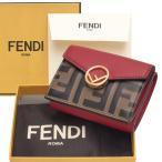 フェンディ ダブルF エフイズフェンディ 三つ折りミニ財布 ミニウォレット エンボス加工 三つ折り財布 ストロベリーレッド 8M0395 AAII F13VJ FENDI