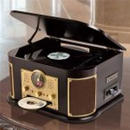 マルチレコードプレーヤー/CDプレーヤー 〔幅44.5cm〕 木製 リモコン EPアダプター 交換用レコード針1本付き 〔寝室 リビング〕